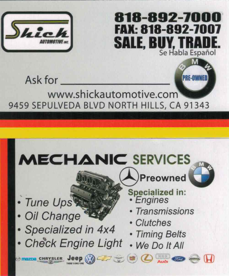 Shick Automotive Inc